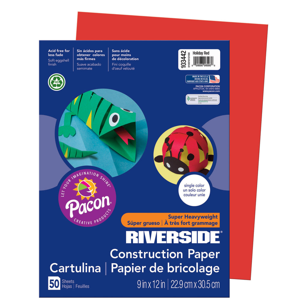 Pacon Riverside® 9 x 12 Holiday Red Construction Paper, 50 Sheets