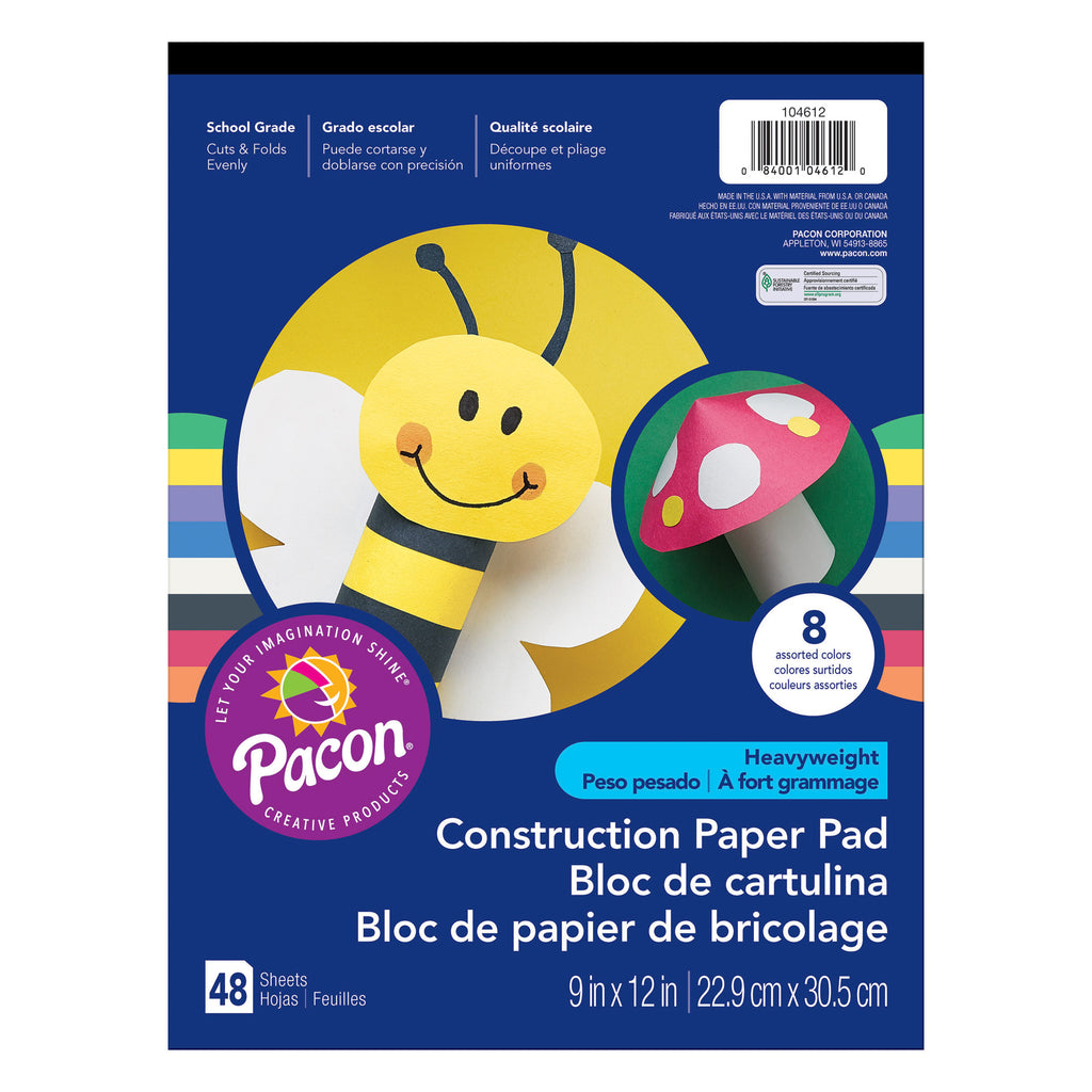 "Pacon® Heavyweight Construction Paper Pad, 9"" x 12"" Assorted"