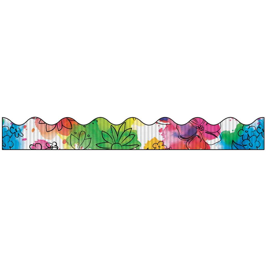Pacon Bordette® Decorative Bulletin Board Borders, Watercolor Flowers