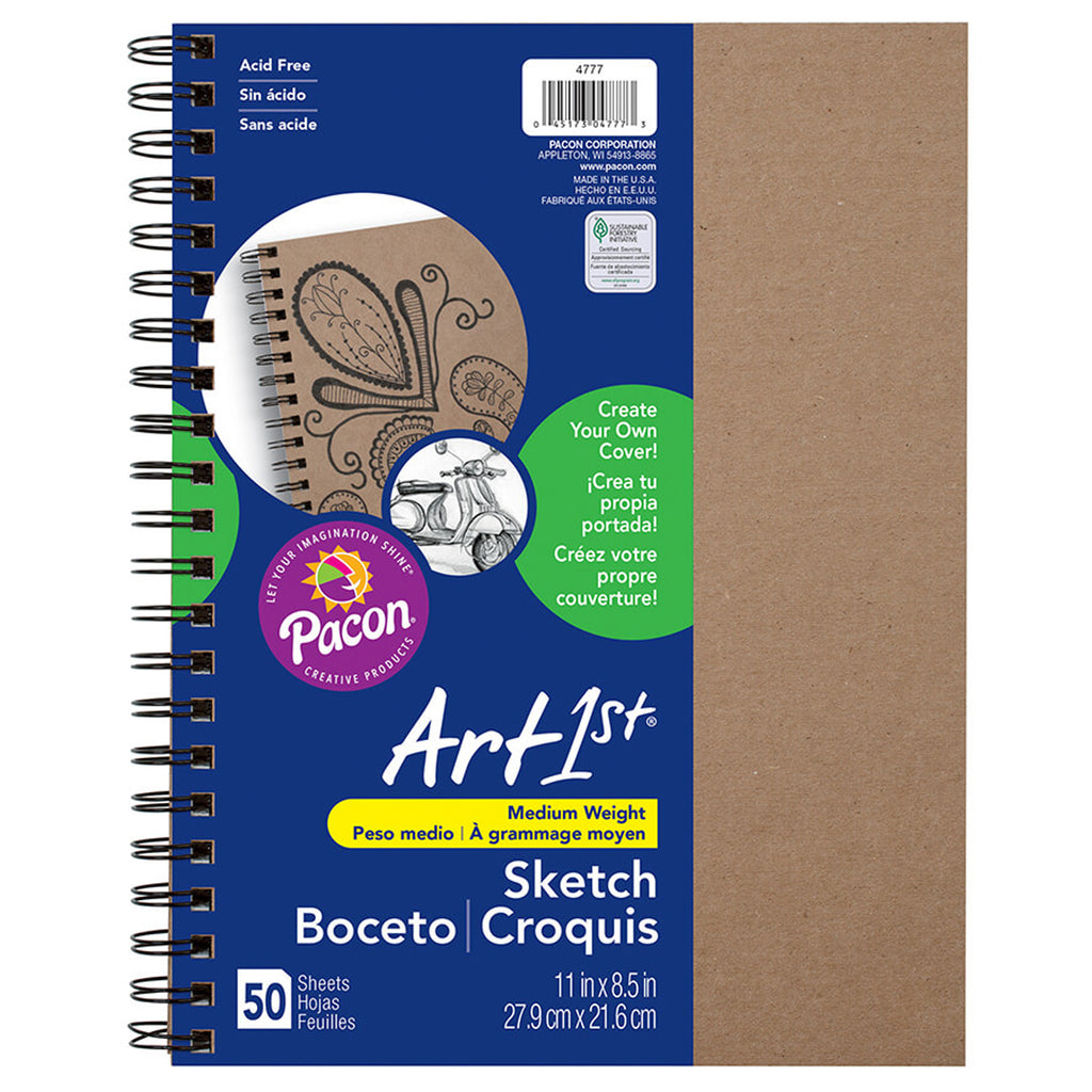 "Pacon Art1st® Create Your Own Cover Sketch Diary, 8.5"" x 11"" (50 Sheets, Natural Cover)"