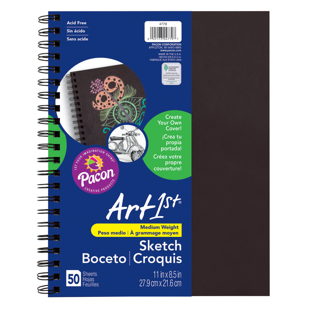 "Pacon Art1st® Create Your Own Cover Sketch Diary, 8.5"" x 11"" (50 Sheets, Black Cover)"