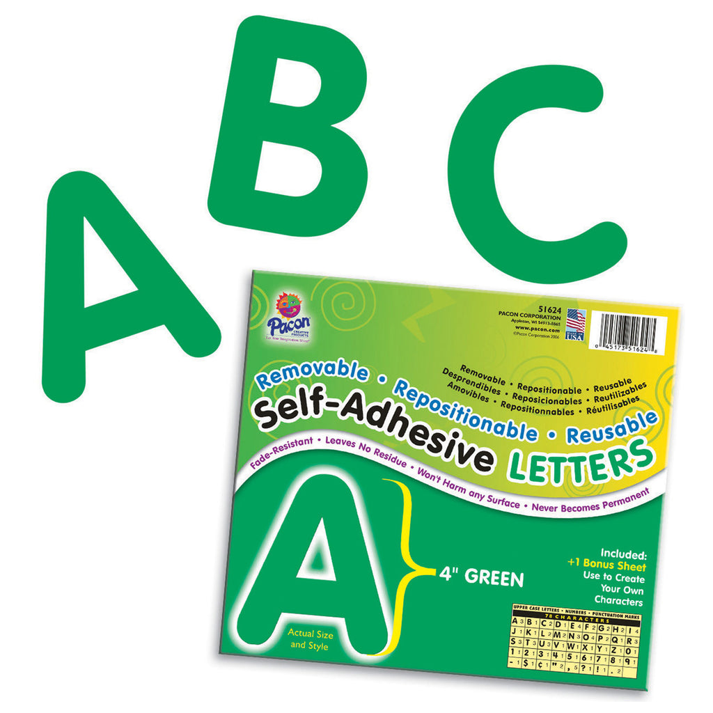 "Pacon Self-Adhesive Letters, 4"" Green"