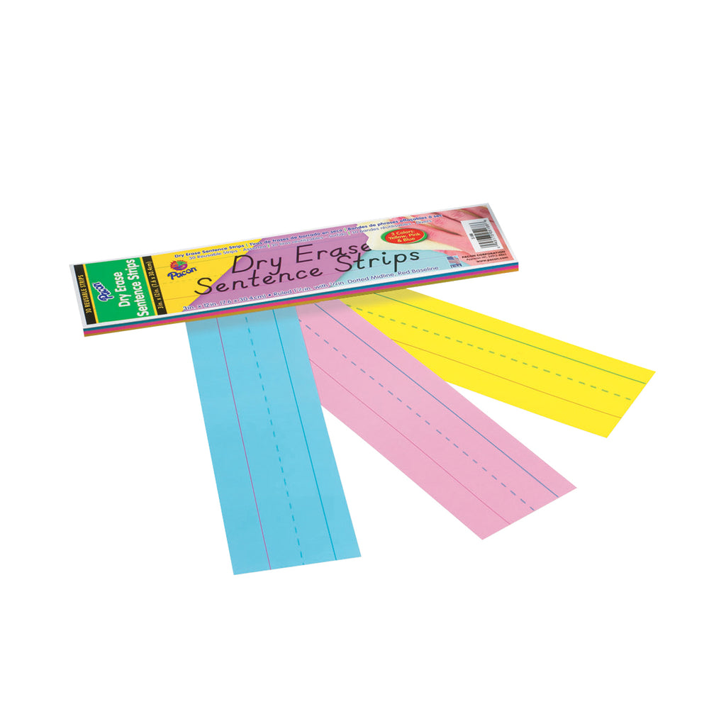 "Pacon Dry Erase Sentence Strips, 3"" x 12"" Assorted"