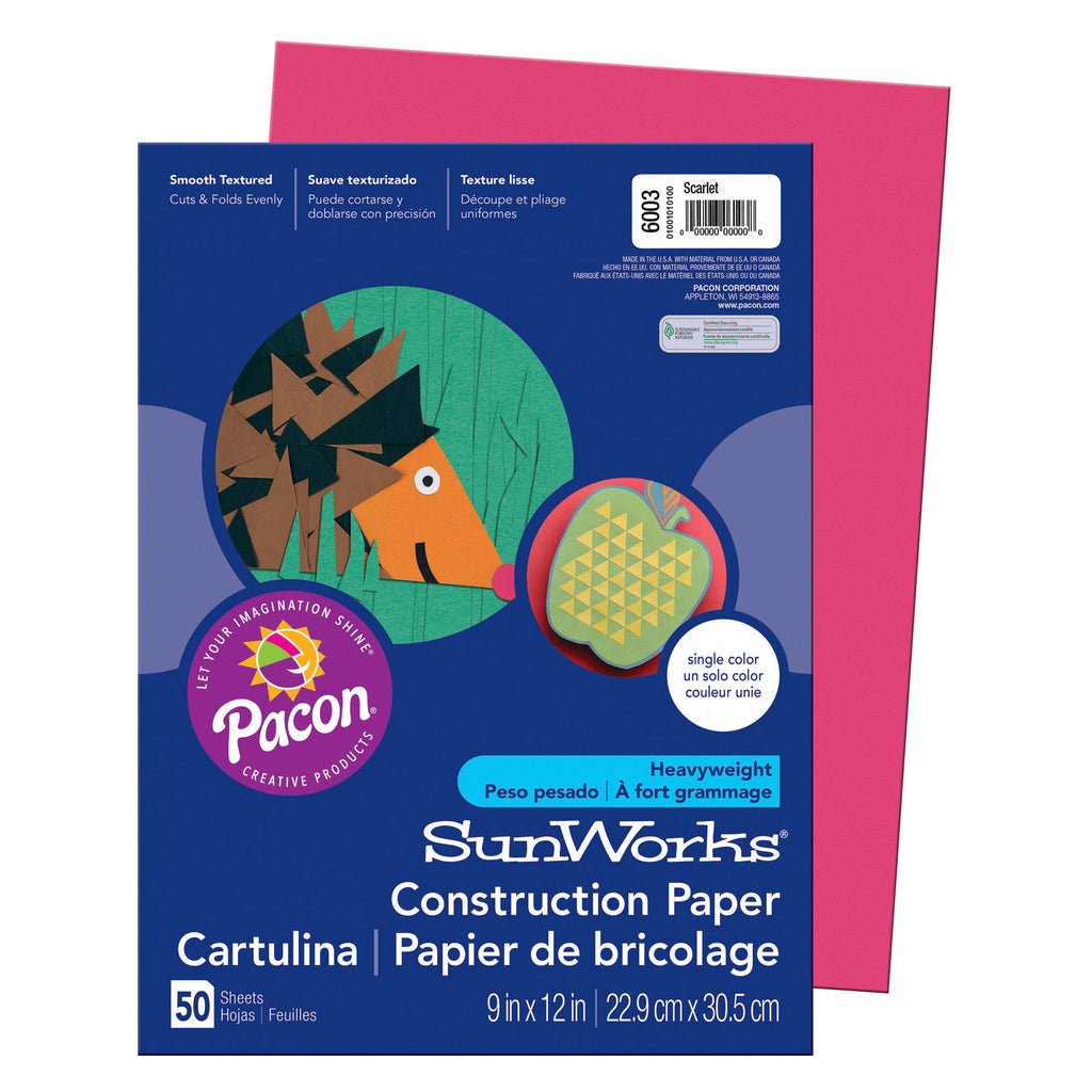 "Pacon SunWorks® Construction Paper, 9"" x 12"" Scarlet"