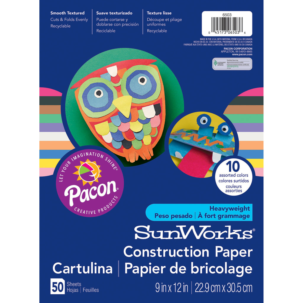 "Pacon SunWorks® Construction Paper, 9"" x 12"" Assorted"