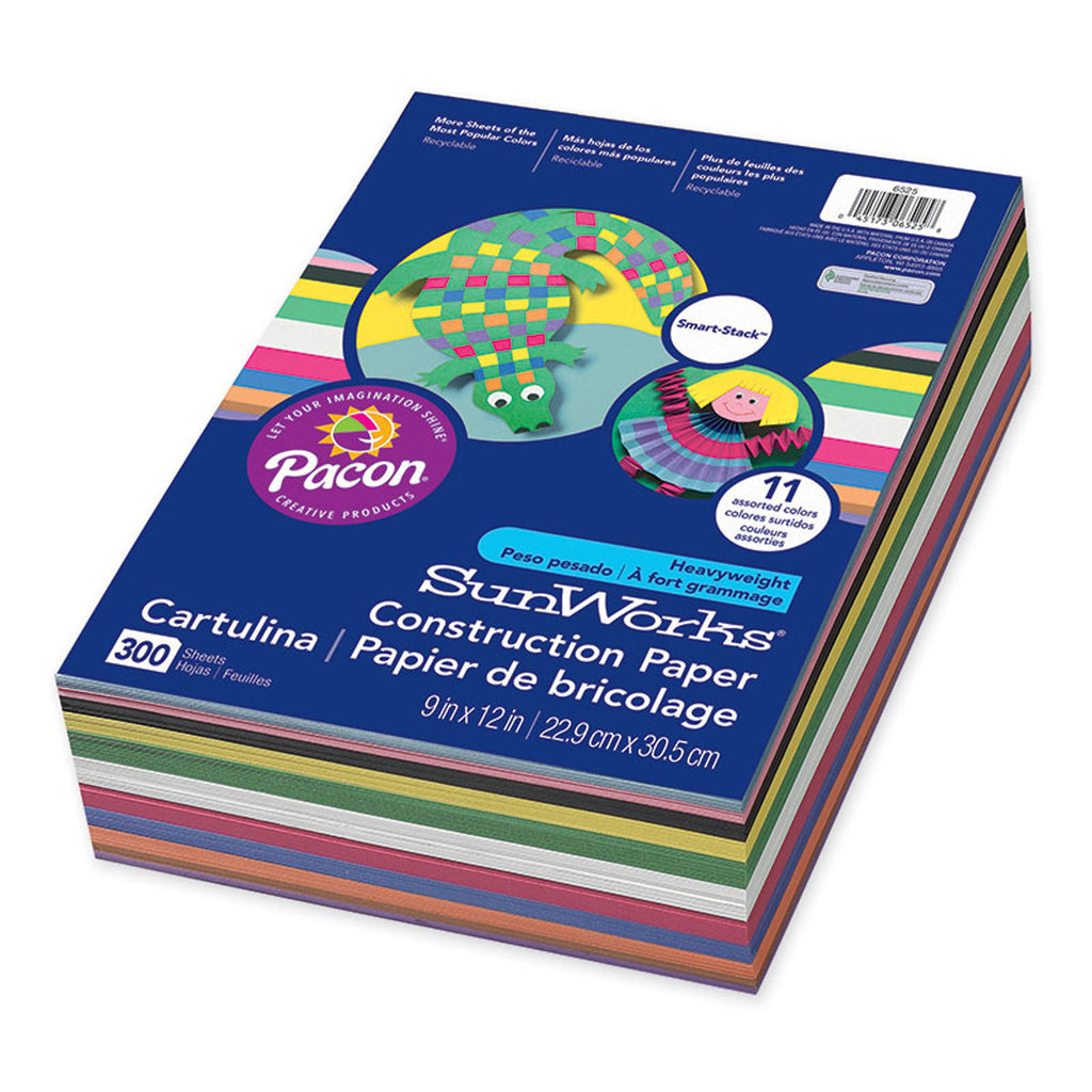 "Pacon SunWorks® Construction Paper Smart-Stack™ Assortment, 9"" x 12"""