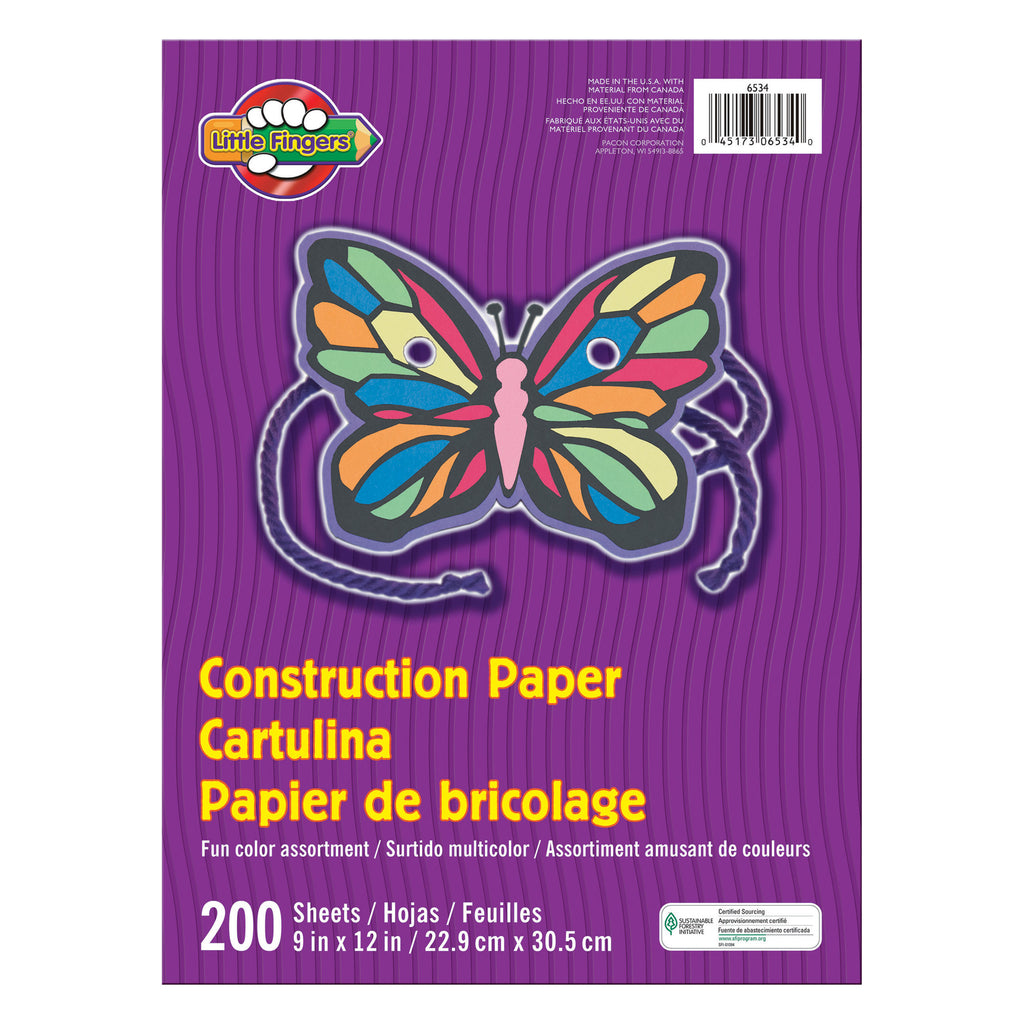 "Pacon Little Fingers® Assorted Construction Paper, 9"" x 12"" (200 Sheets)"