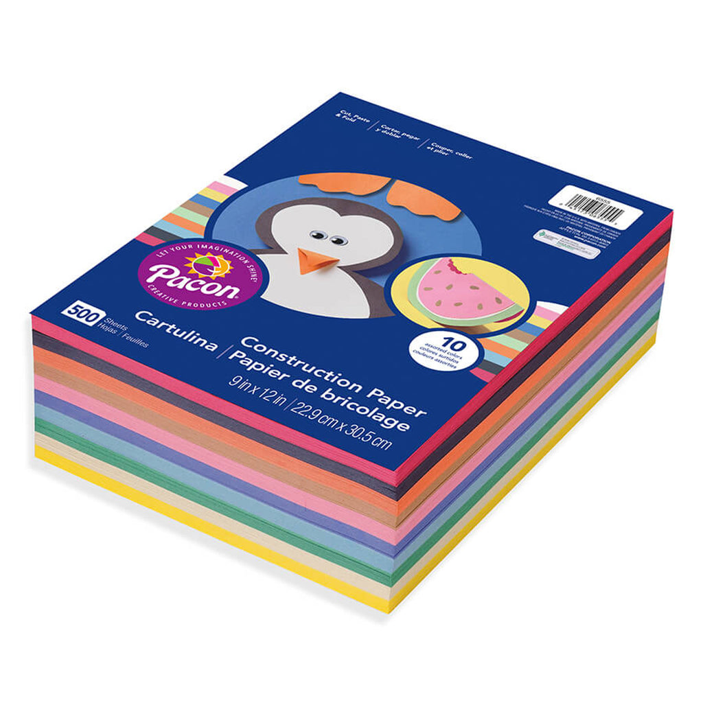 Pacon Construction Paper Gw Lwt Assorted 9 x 12 500Rm