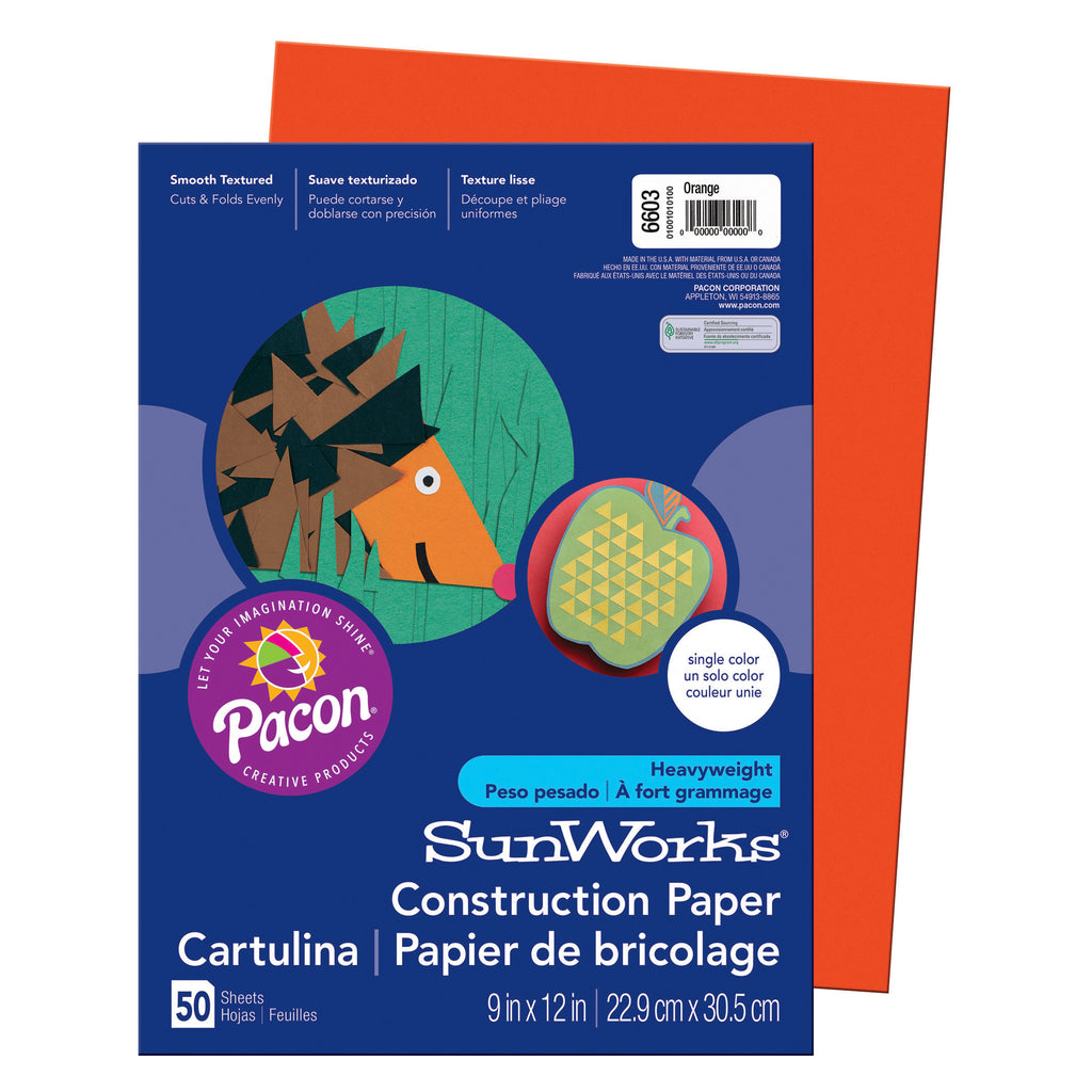 "Pacon SunWorks® Construction Paper, 9"" x 12"" Orange"