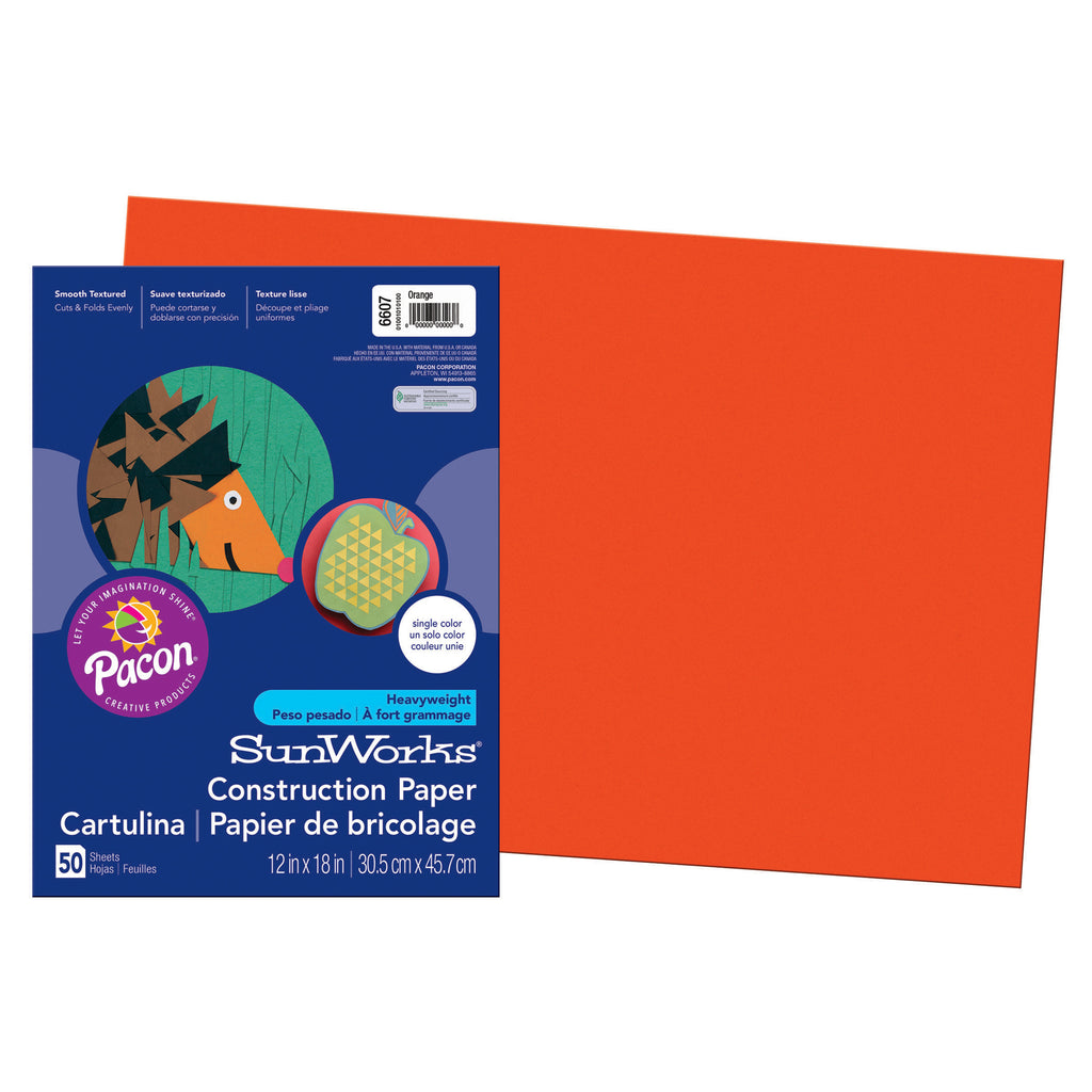 "Pacon SunWorks® Construction Paper, 12"" x 18"" Orange"
