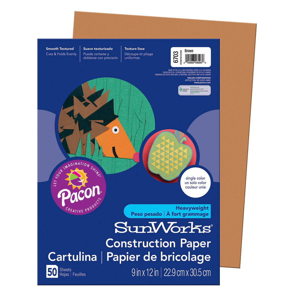 "Pacon SunWorks® Construction Paper, 9"" x 12"" Brown"