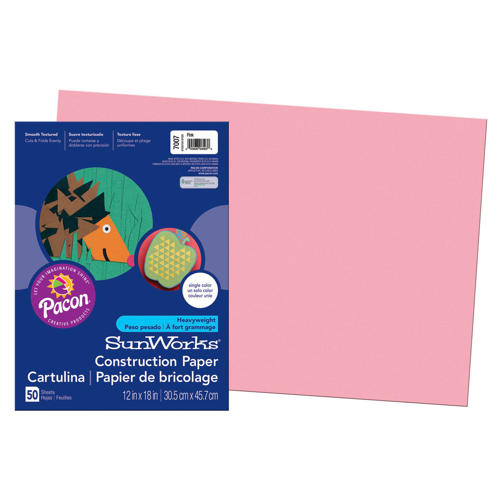 "Pacon SunWorks® Construction Paper, 12"" x 18"" Pink"