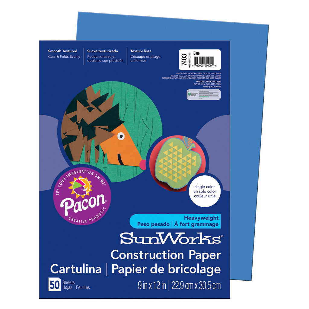 "Pacon SunWorks® Construction Paper, 9"" x 12"" Blue"