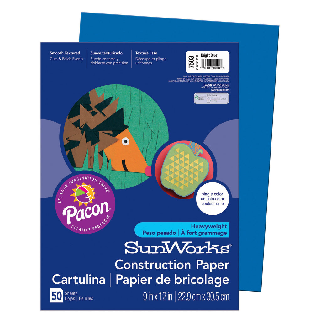 "Pacon SunWorks® Construction Paper, 9"" x 12"" Bright Blue"