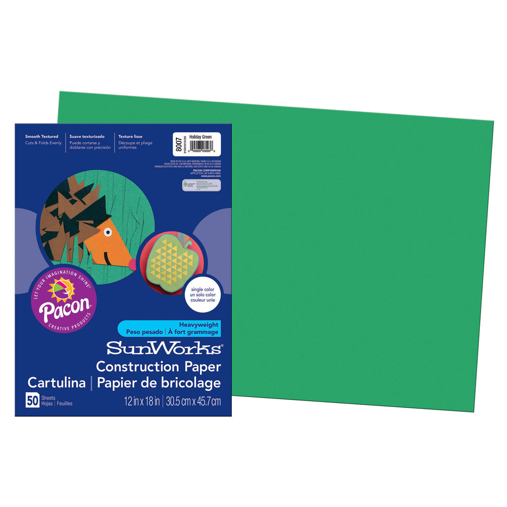 "Pacon SunWorks® Construction Paper, 12"" x 18"" Holiday Green"