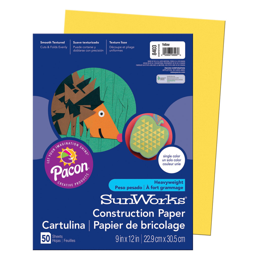 "Pacon SunWorks® Construction Paper, 9"" x 12"" Yellow"