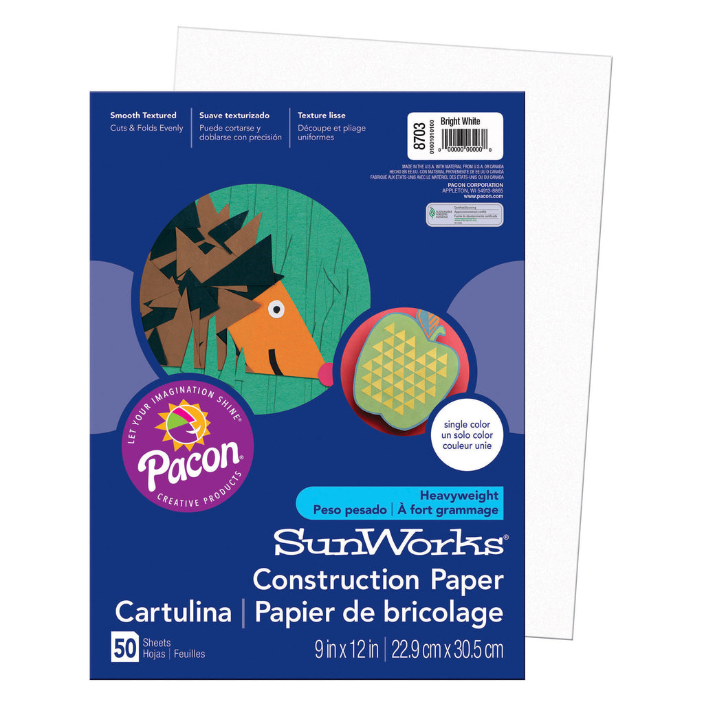 "Pacon SunWorks® Construction Paper, 9"" x 12"" Bright White"