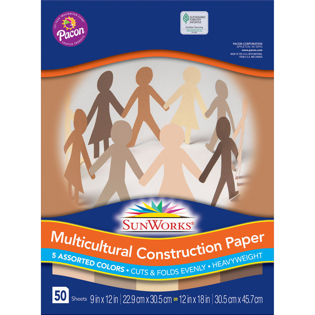 "Pacon Multicultural Construction Paper, 9"" x 12"""