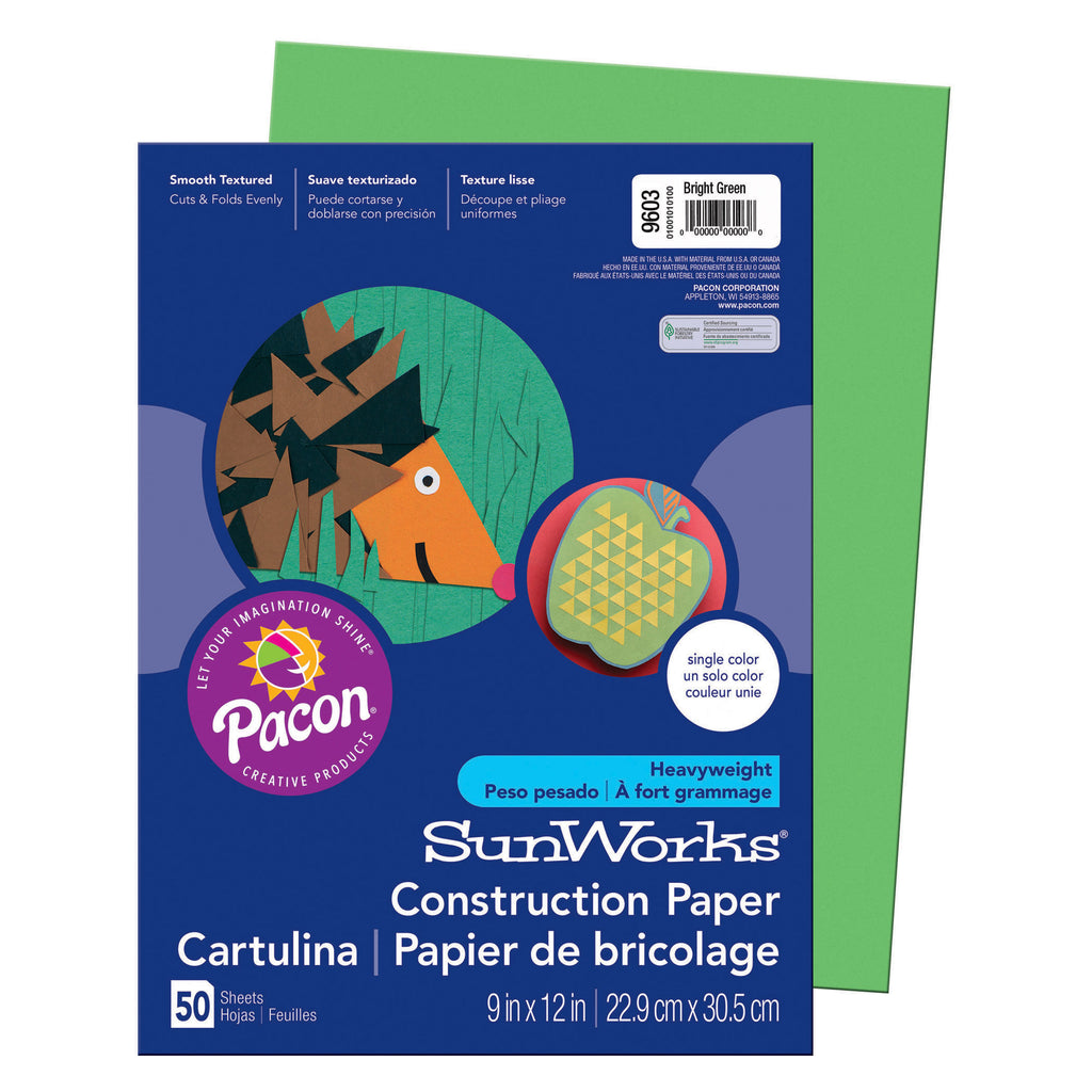 "Pacon SunWorks® Construction Paper, 9"" x 12"" Bright Green"