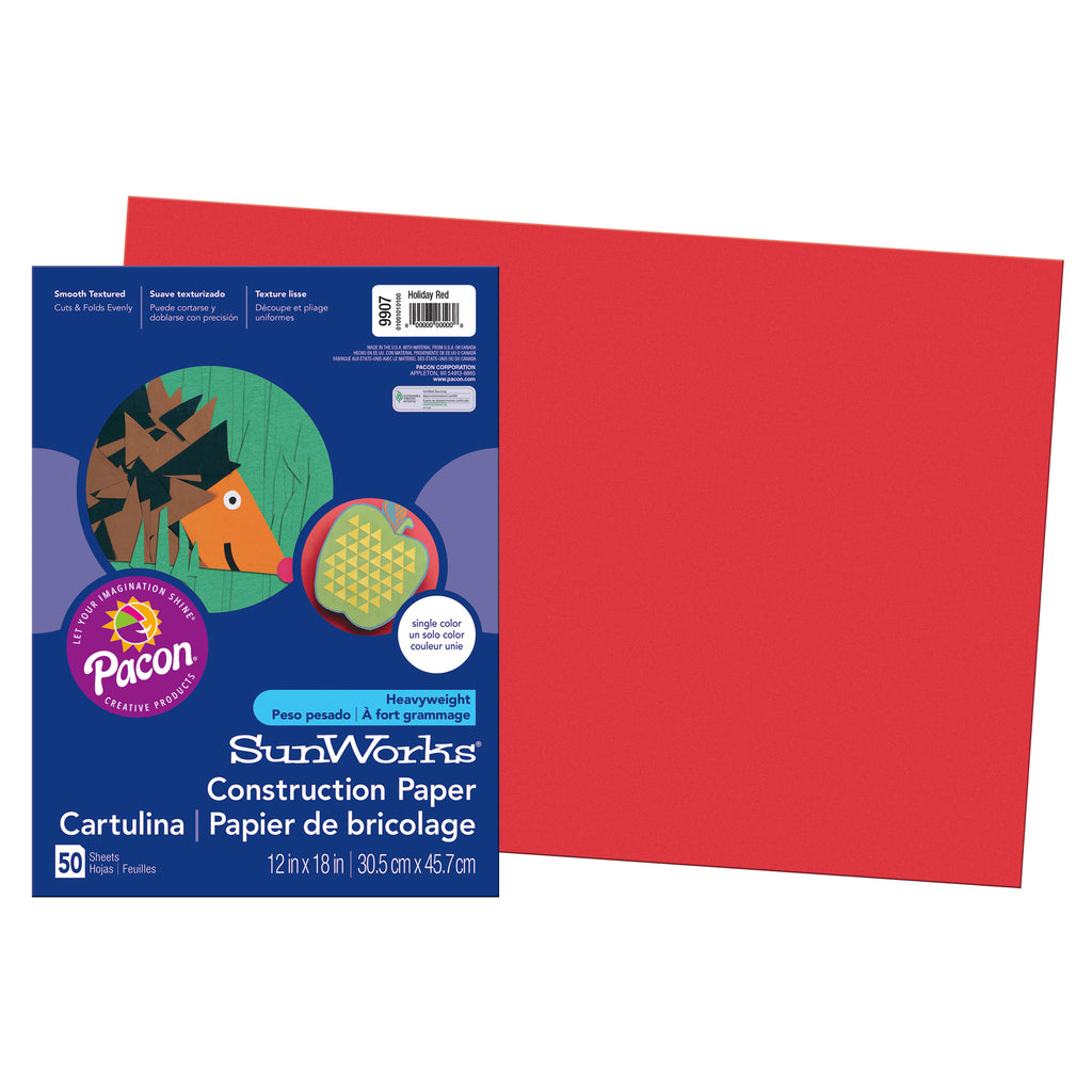 "Pacon SunWorks® Construction Paper, 12"" x 18"" Holiday Red"