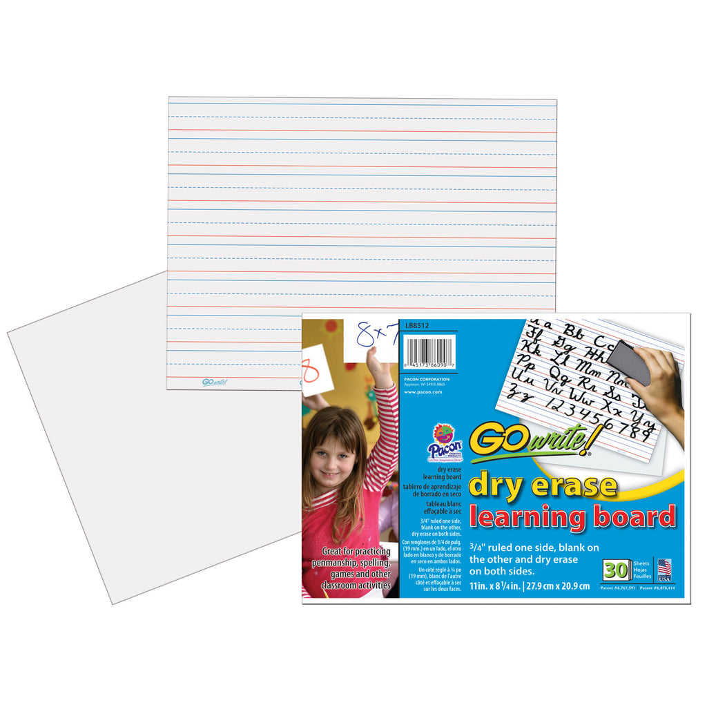 Pacon GoWrite!® Dry Erase Learning Boards Non Adhesive 8-1/4 x 11 30Pk