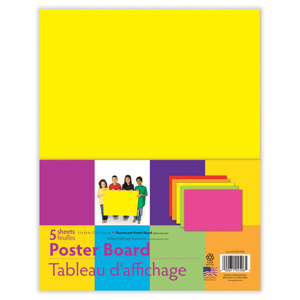 "Pacon® Fluorescent Poster Board, 11"" x 14"" Assorted (5 Sheets)"