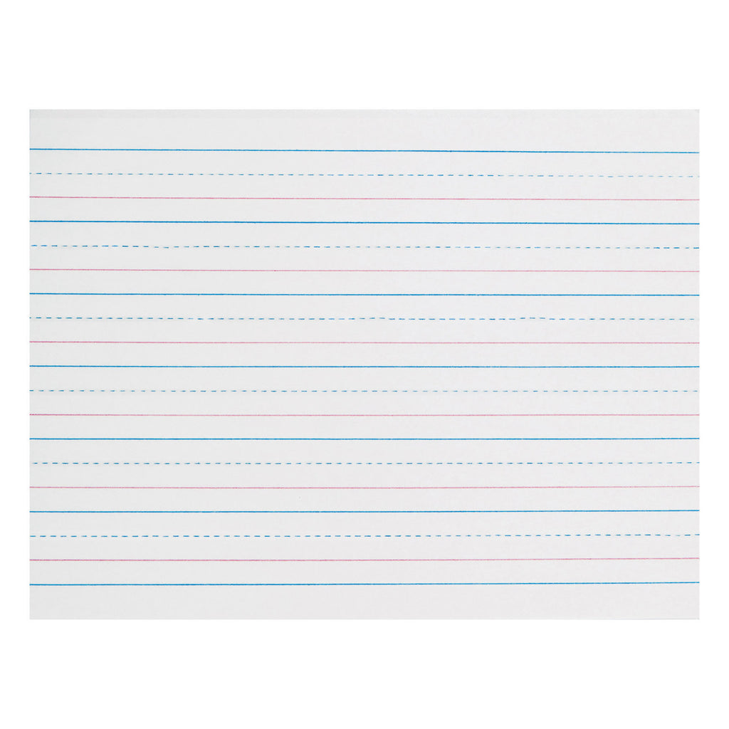 "Pacon Zaner-Bloser™ Broken Midline Sulphite Paper, 3/4"" Ruled Long Way, Grade K"