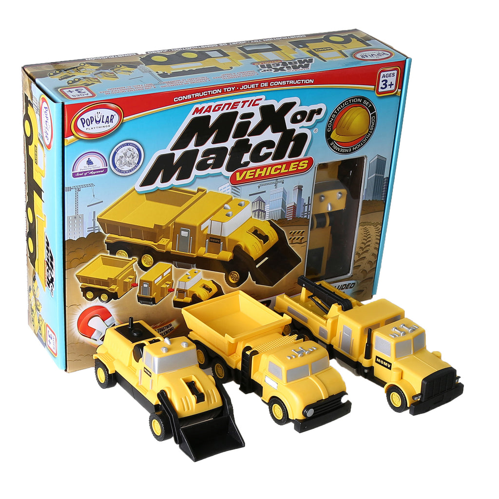 Popular Playthings Magnetic Mix or Match Construction Vehicles