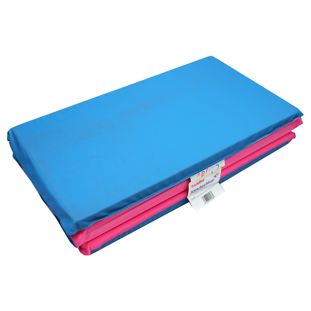 "Peerless Plastics Toddler Foldable KinderMat, Blue & Pink, 3/4"" x 21"" x 46"" (With Pillow Section)"
