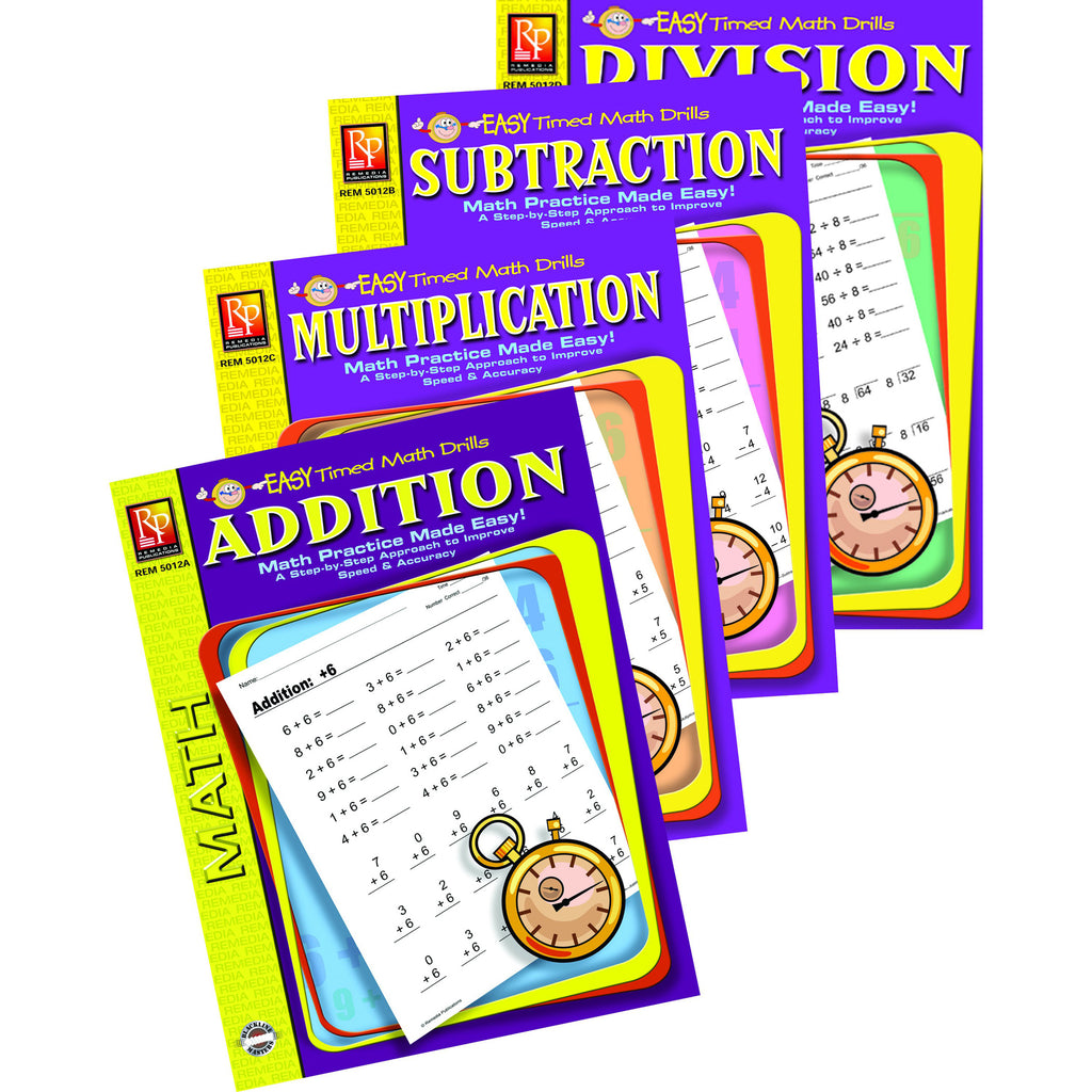 Remedia Publications Easy Timed Math Drills 4 Book Set: Addition, Subtraction, Multiplication, And Division