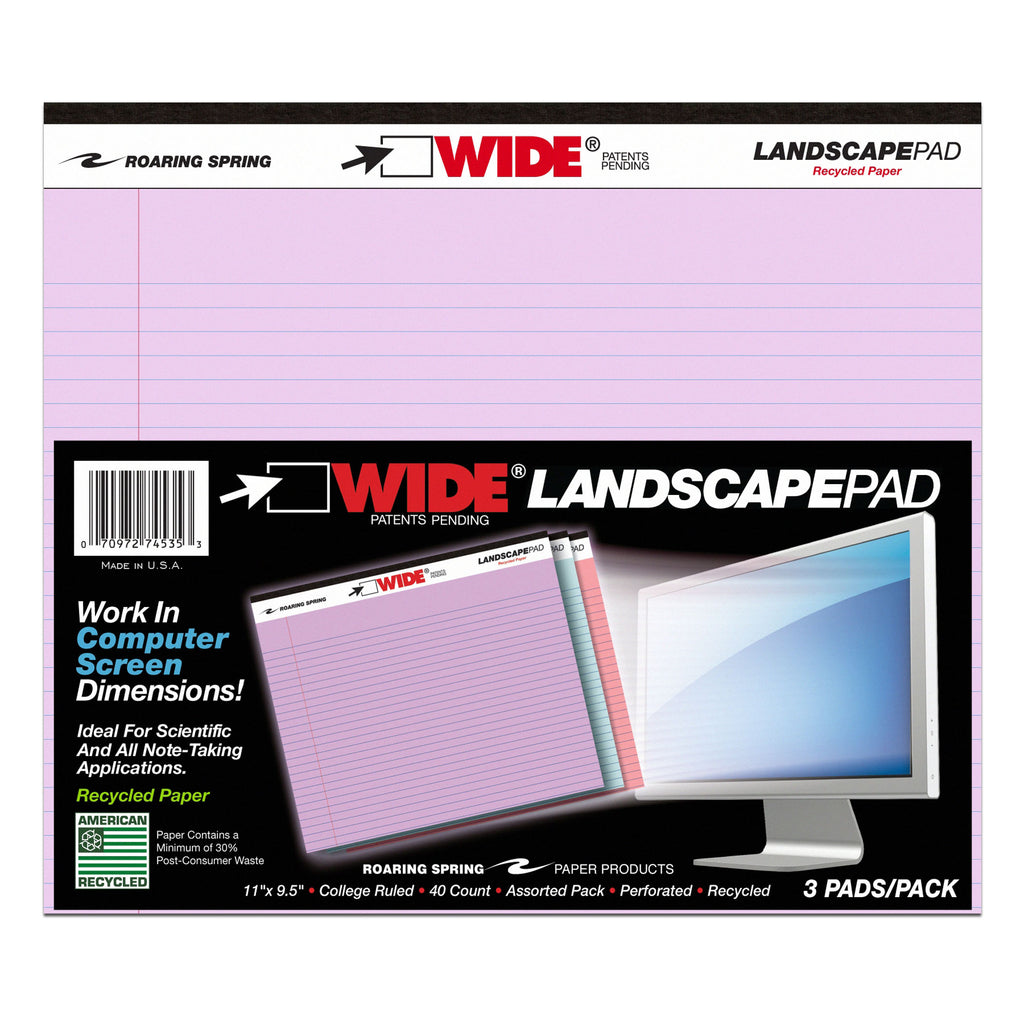 Roaring Spring Paper Products Landscape Pad, 3 Pack Assorted