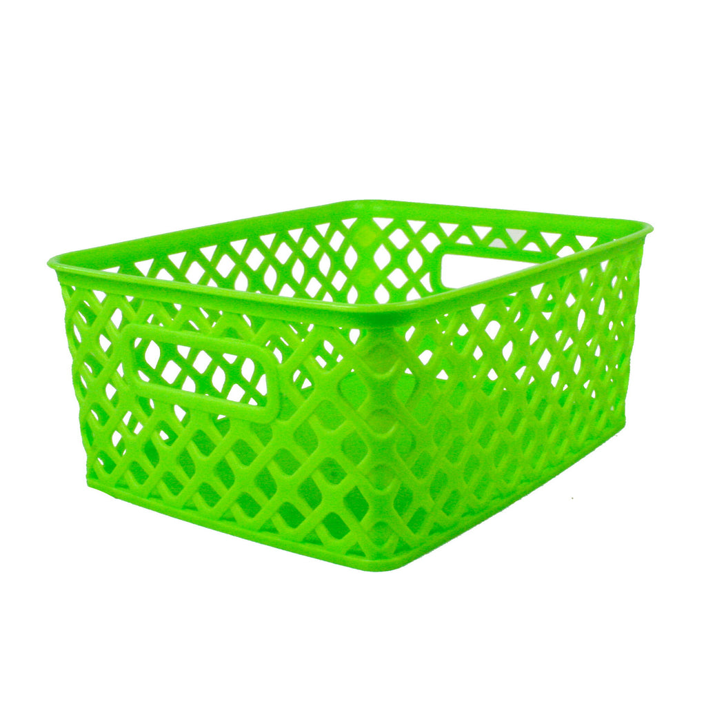 Romanoff Small Woven Basket, Lime Green