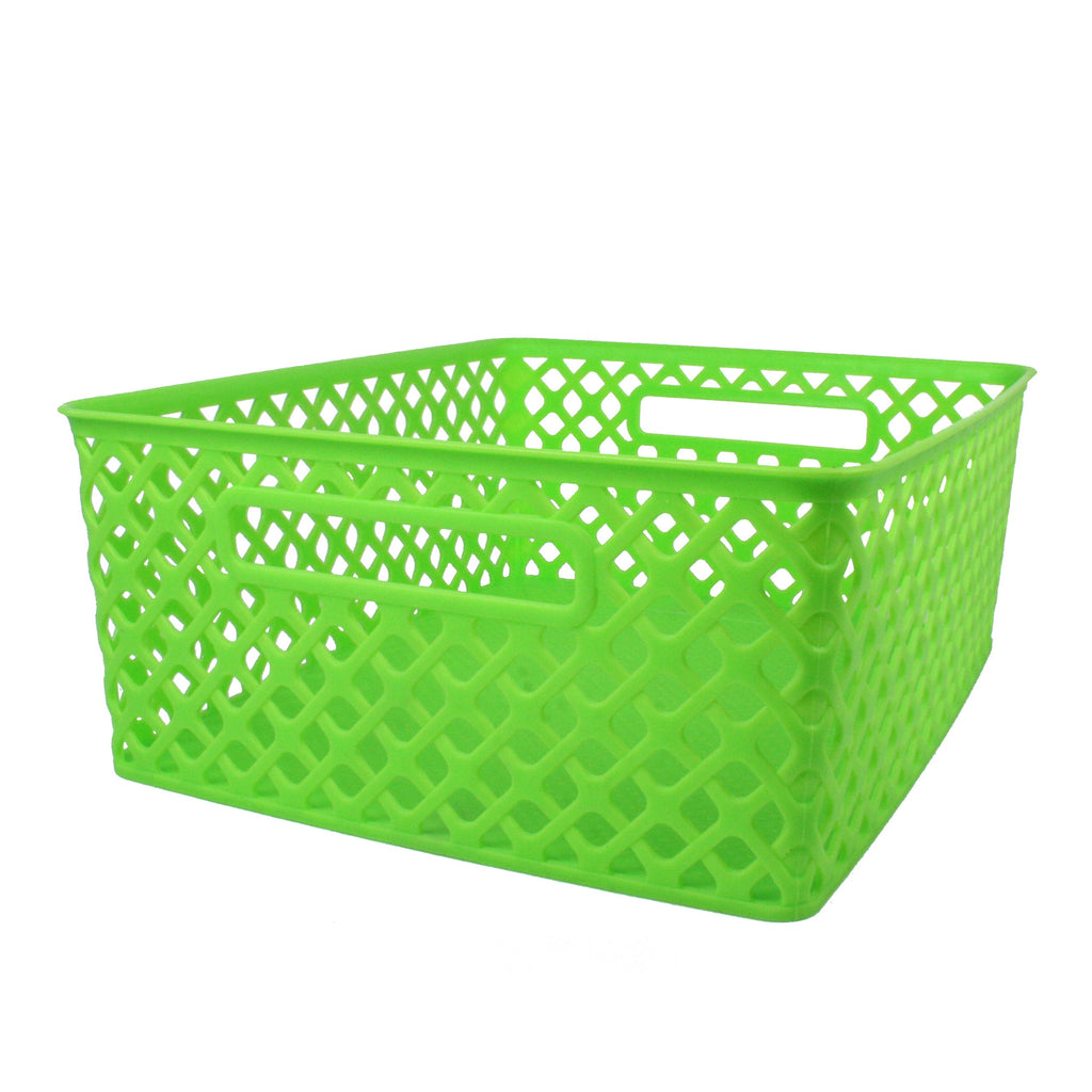 Romanoff Medium Woven Basket, Lime Green