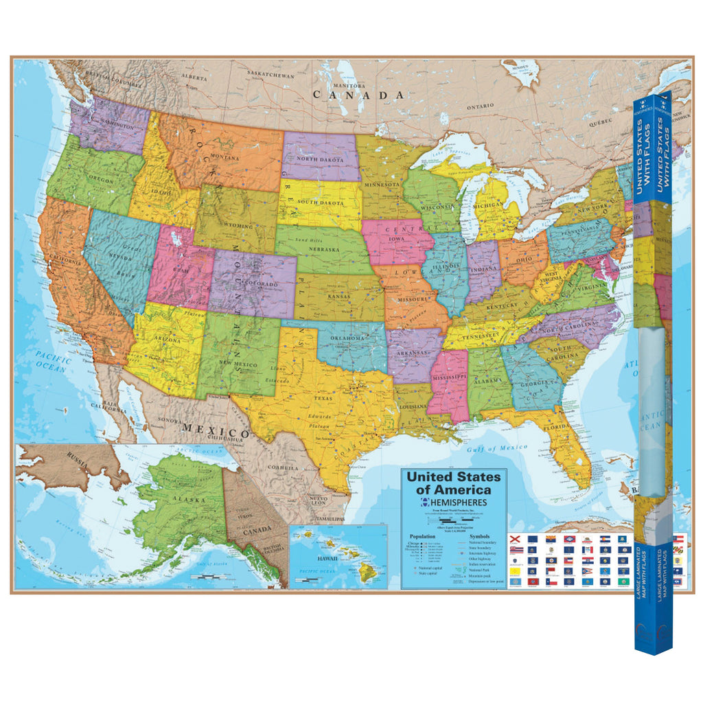 Round World Products Blue Ocean Series United States Wall Map