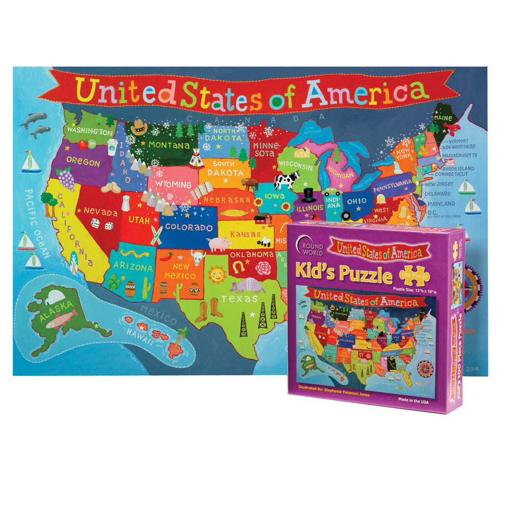 Round World Products Kid's USA 100-Piece Puzzle