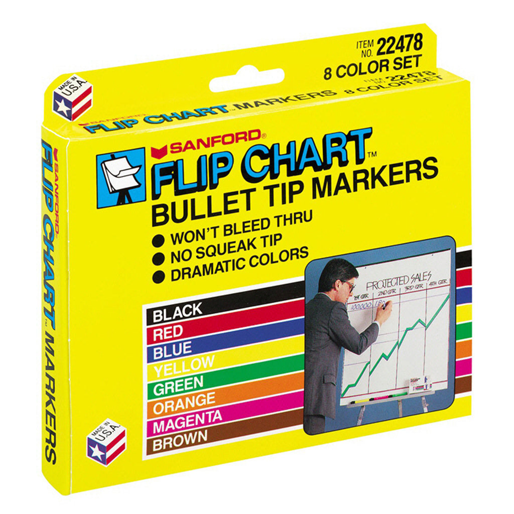 Newell Brands Marker Set Flip Chart 8 Color Black Red Blue Green Yellow Brown Purple
