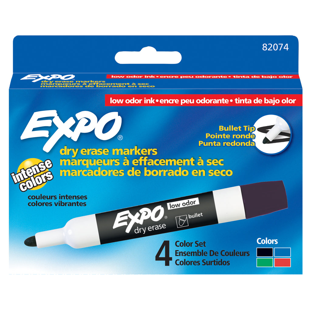 Newell Brands Expo Low Odor Dry Erase Bullet Tip Markers, Set of 4 (Black, Red, Blue, Green)