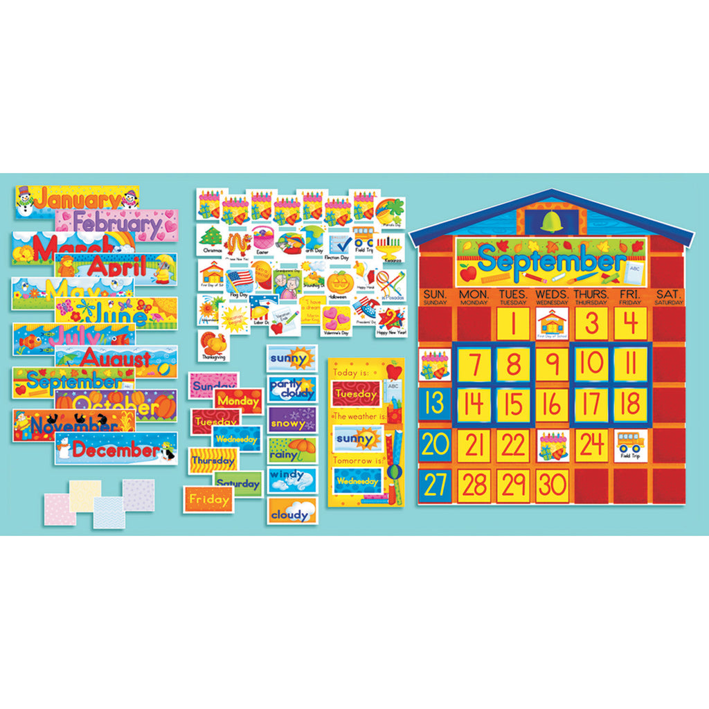 Scholastic All-In-One Schoolhouse Calendar Bulletin Board Set