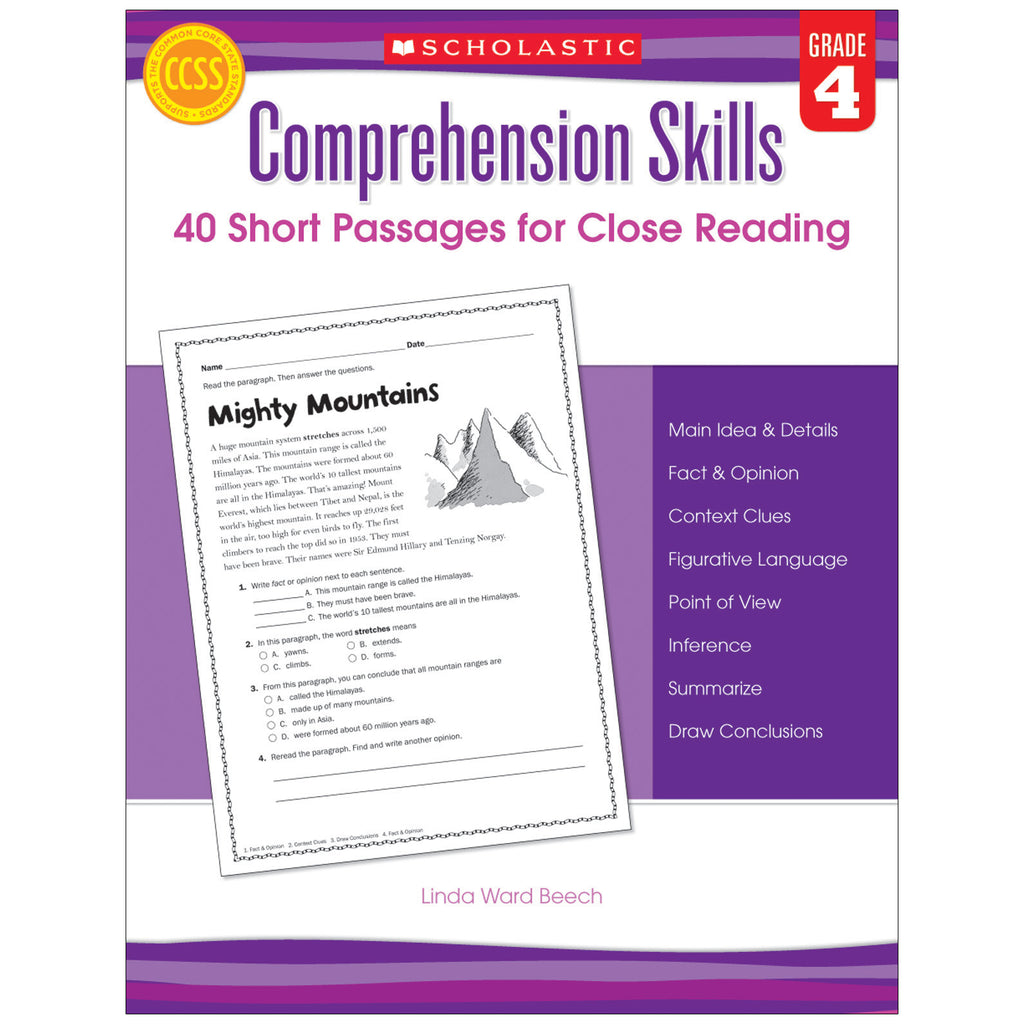 - Scholastic Comprehension Skills: 40 Short Passages For Close