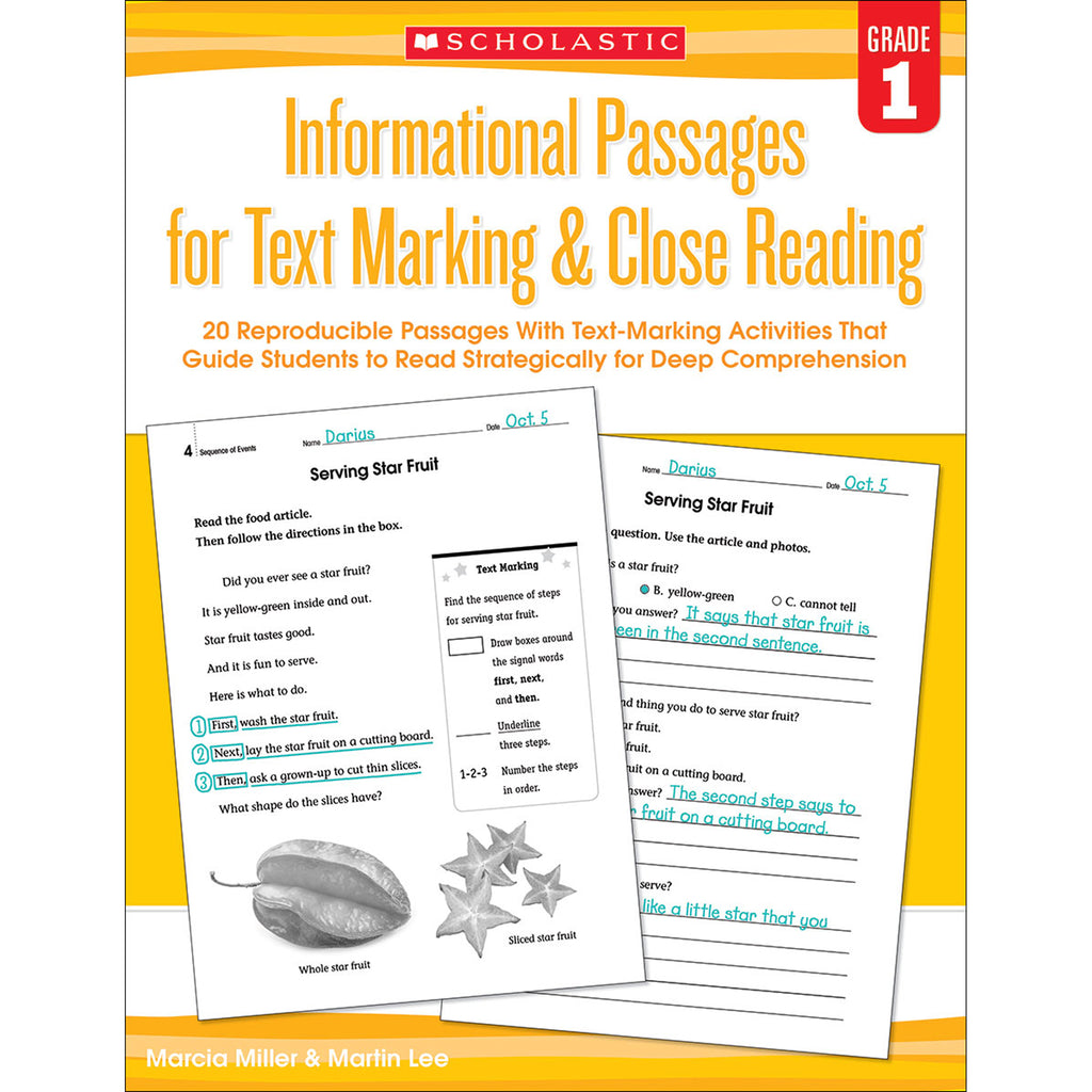 Scholastic Informational Passages for Text Marking & Close Reading: Grade 1