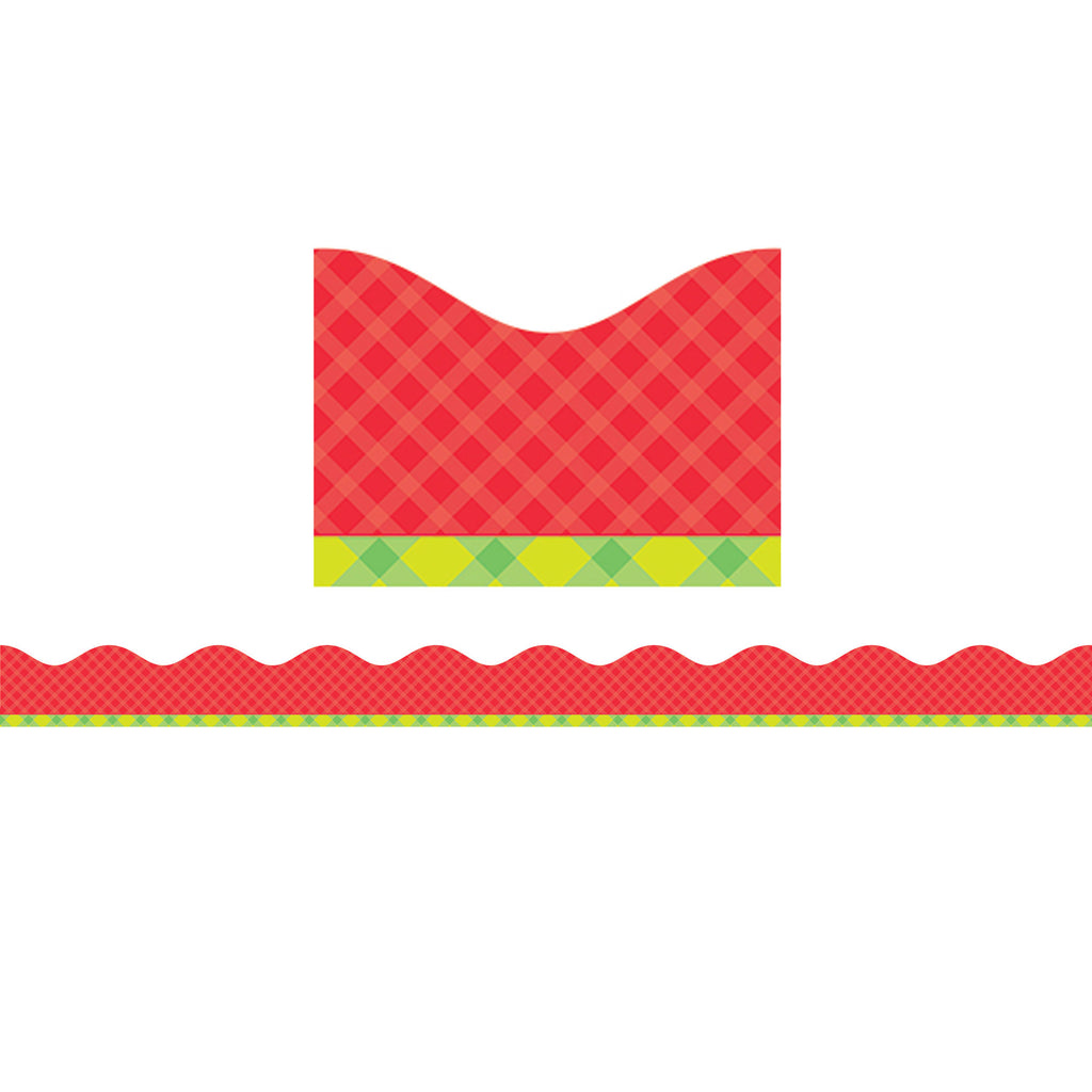 Scholastic Tape It Up! Pretty in Plaid Scalloped Bulletin Board Trimmer