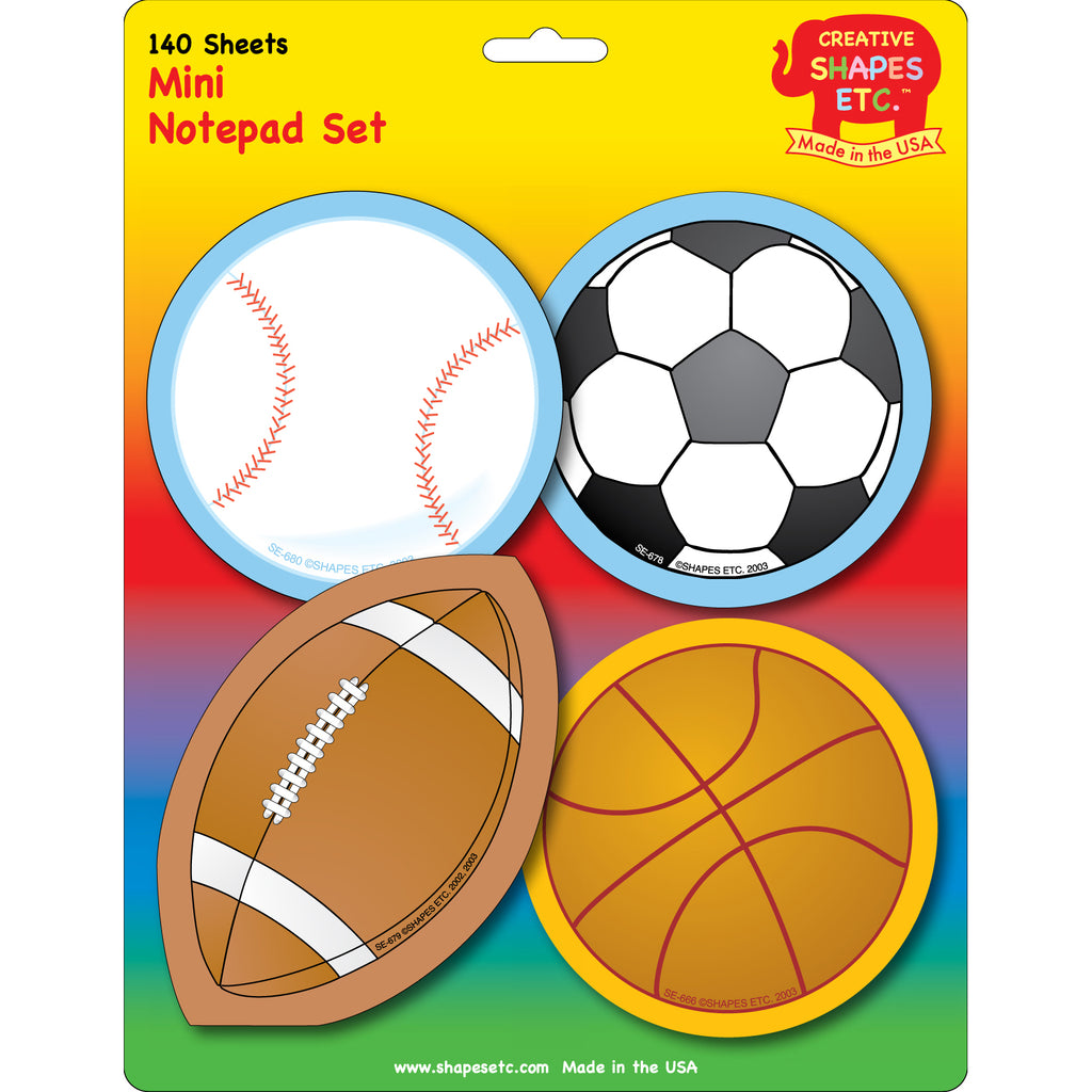 Creative Shapes Notepad Sports Set Mini