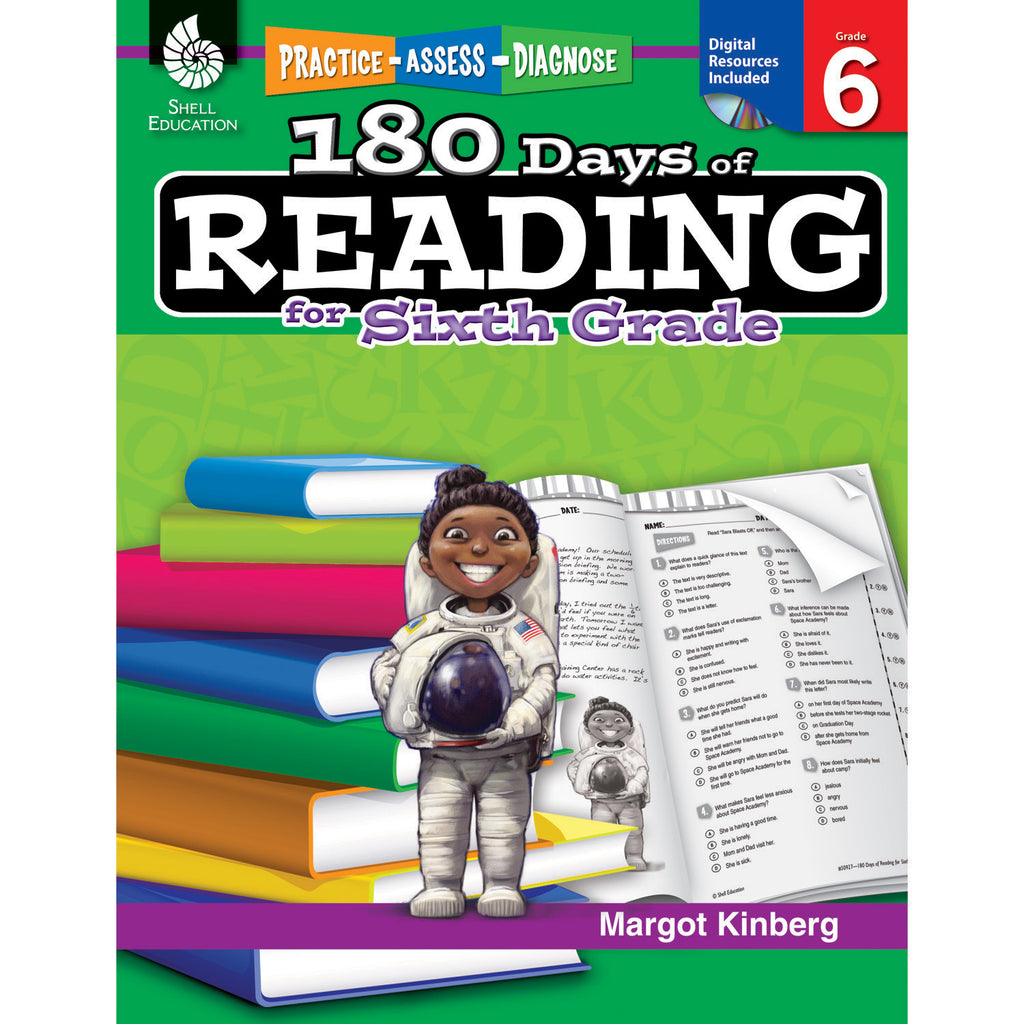 Shell Education 180 Days Of Reading Book For Sixth Grade