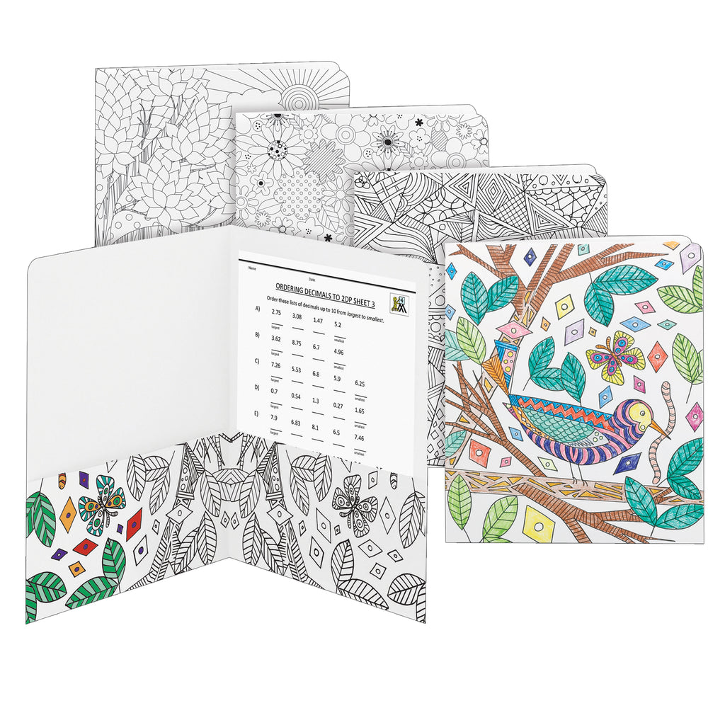 Smead Coloring Two-Pocket Folders - Whimsical Designs, 4 Pack
