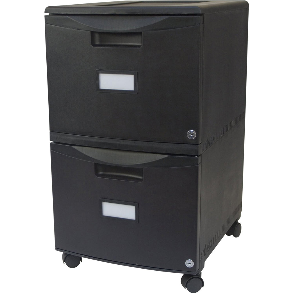 Storex Industries Two Drawer Mobile File Cabinet with Lock, Black