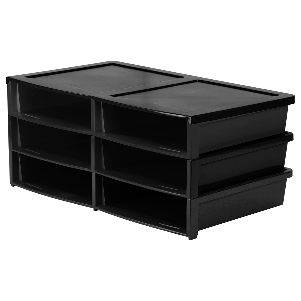 Storex Industries Quick Stack Organizer, 6 Compartments (Black)