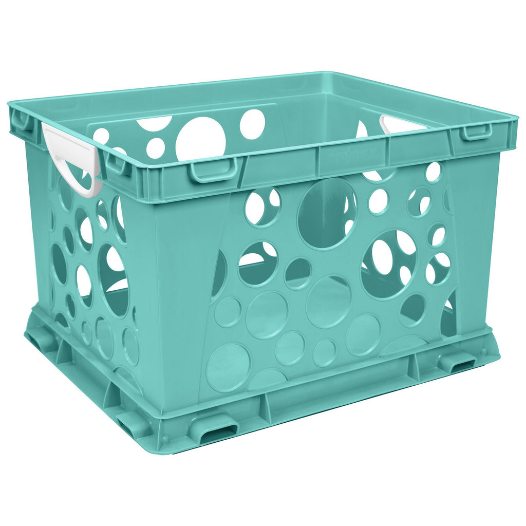 Storex Industries Premium File Crate with Handles, Teal