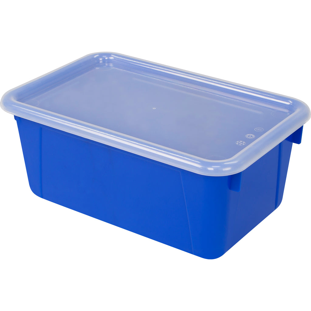 Storex Industries Small Cubby Bin with Cover, Blue