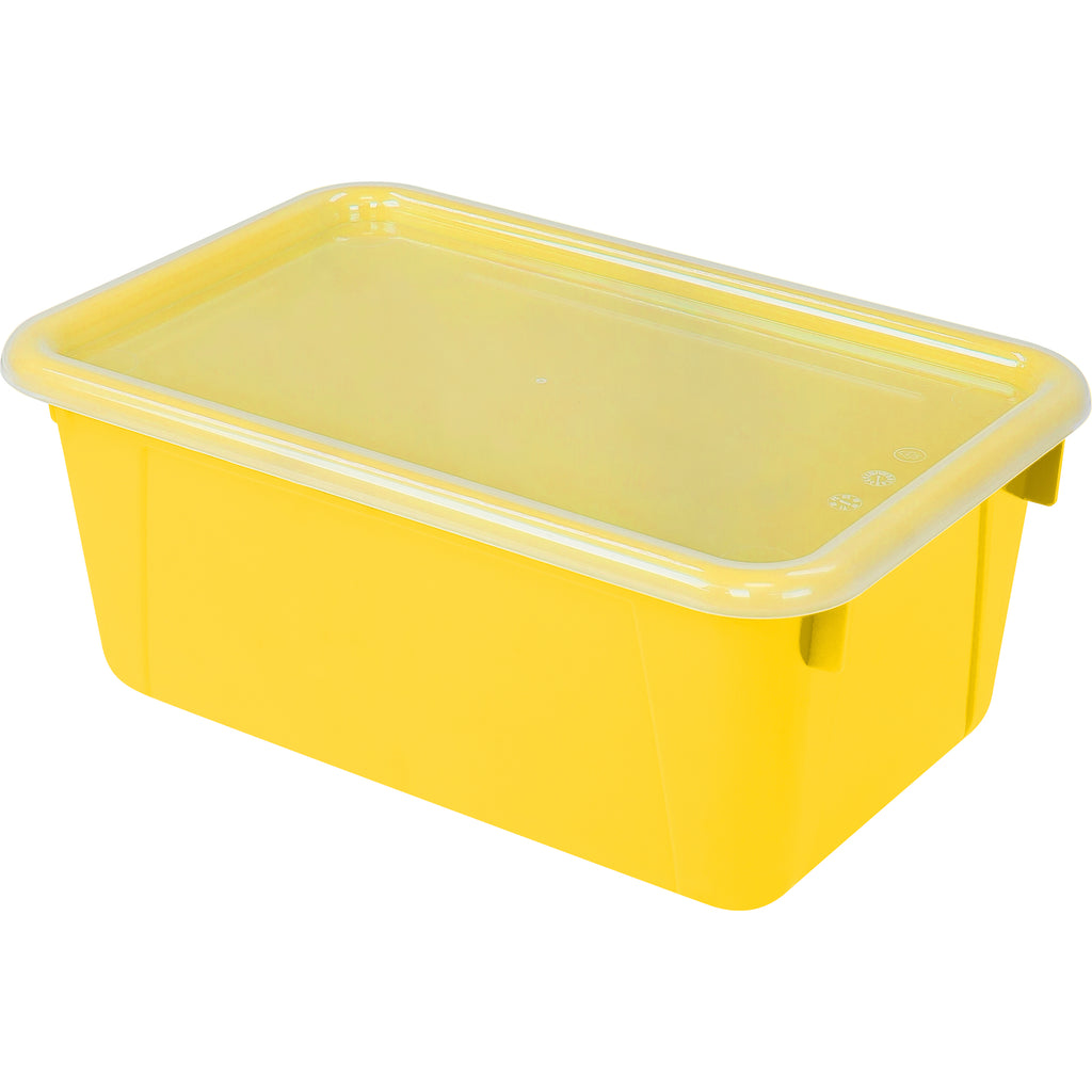 Storex Industries Small Cubby Bin with Cover, Yellow