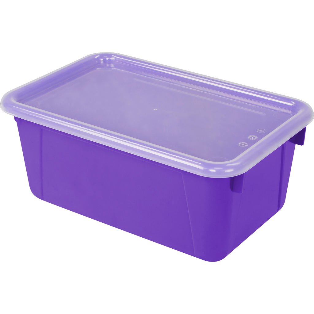 Storex Industries Small Cubby Bin with Cover, Purple